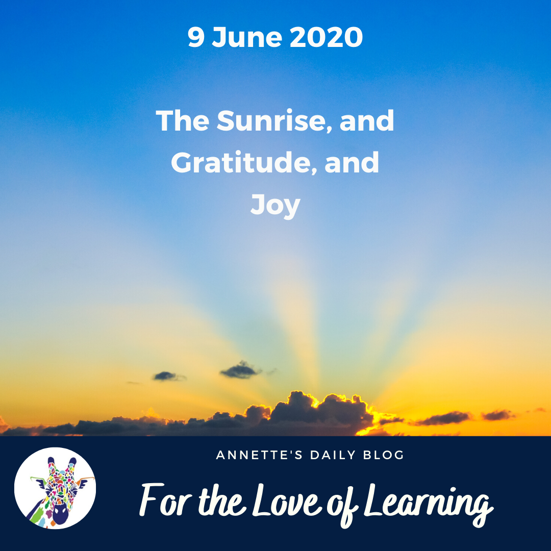 For the Love of Learning, 9 June 2020 : The Sunrise, and Gratitude, and Joy